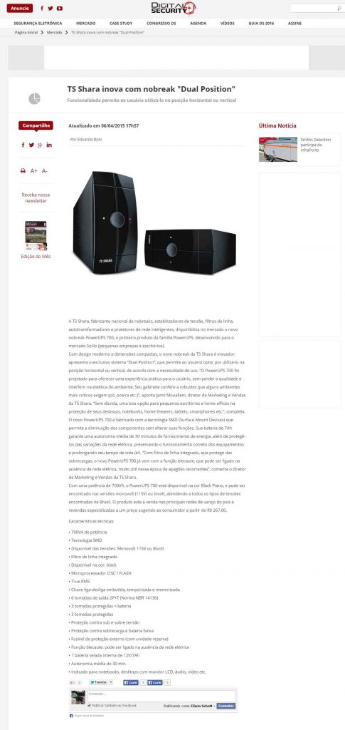 TS Shara inova com Nobreak Dual Position - Digital Security