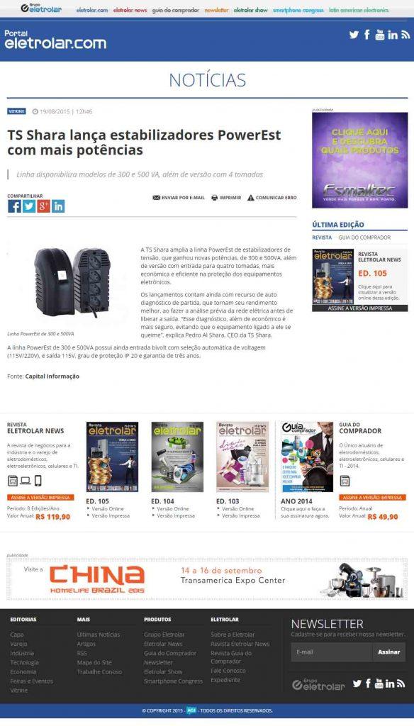 TS Shara lança Estabilizadores Power Est - Notícias
